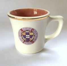 #Hobart College Mug Latin Seal Gilding Lewis Ceramics White Pink Coffee Cup