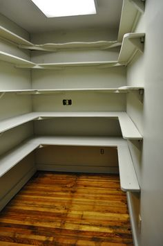 """Like, except shallow shelves are to be two cans deep and two cans high and deep shelves are to be 12"""" deep for boxed goods, etc."""