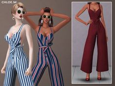 Jumpsuit with bowknot for The Sims 4