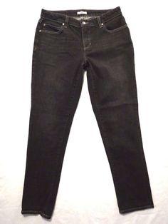 Eileen Fisher size 6 Slim leg EUC Mid rise Black Organic cotton Womens jeans #EileenFisher #SlimSkinny