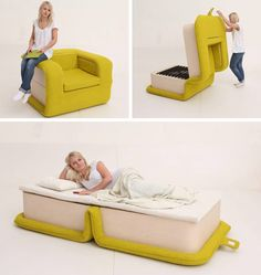 The Flop chair by Russian designer Elena Sidorova looks comfortable and spacious, and it can be easily turned into a functional tween bed. And as a bonus feature, all the guest bed paraphernalia (pillows, comforters, and sheets) can be stored right here, inside the chair.