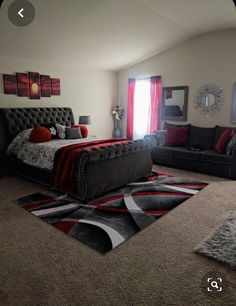 Bedroom Red, Room Ideas Bedroom, Home Bedroom, Master Bedroom, Living Room Decor Curtains, Decor Home Living Room, First Apartment Decorating, Girl Apartment Decor, Bedroom Decor For Teen Girls