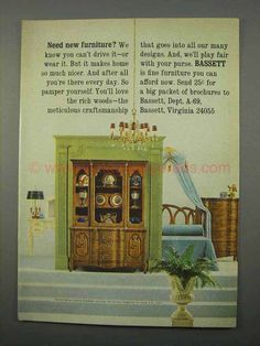 1966 Bassett Chalons Collection Furniture Ad - Need?-This is a 1966 ad for a Bassett Chalons Collection Furniture! The size of the ad is approximately Furniture Ads, Fine Furniture, 1960s Interior Design, Your Design, History, How To Make, Painting, Collection, Art