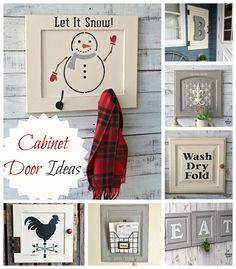 A Cabinet Door Stenciled Snowman Sign Wall Hooks Cabinet Door Projects stencil repurpose upcycle ch Cabinet Door Crafts, Diy Cabinet Doors, Funky Home Decor, Upcycled Home Decor, Recycled Door, Repurposed, Recycled Gifts, Furniture Projects, Diy Projects