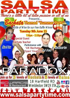 SPT's Summer Party Season begins on Tuesday 9th June 2015 with our Bachata Themed Summer Party. 7.45pm-11.30pm. Bachata & Salsa lessons & Party. SHOWTIME with Paradox + Alisa & Humberto. SalsaPartyTime.com