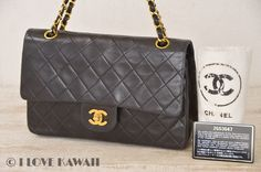 CHANEL Black Leather Matelasse Double Chain Shoulder Bag