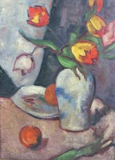 A STILL LIFE OF TULIPS IN A CREAM VASE WITH APPLES AND A PLATE NEARBY by Duncan Grant