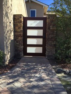 Custom Contemporary Wood and Glass Gate by Garden Passages Kitchen Hardware, Custom Wood, Contemporary Decor, Curb Appeal, Entrance, Gates, Building, Ash, Outdoor Decor