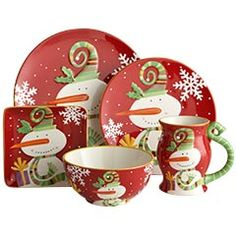 Salad plate $7.00 Dinner Plate $8.00 Snowman Mug $7.00. Christmas Dinnerware ...  sc 1 st  Pinterest & I think I have an obsession with Christmas dishes-these are from our ...