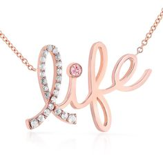 Diamond & Pink Sapphire Life Necklace 1/6 Carat (ctw) in 14k Rose Gold... ($395) ❤ liked on Polyvore featuring jewelry, necklaces, ribbon necklace, rose gold chain necklace, diamond necklaces, rose gold charms and rose gold necklace