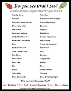 I don't know about you, but our family loves to drive around looking at Christmas lights. I've put together a little scavenger hunt to make it even more fun. Xmas Games, Holiday Games, Christmas Party Games, Christmas Music, Christmas Activities, Christmas Printables, Christmas Projects, Christmas Traditions, Family Christmas
