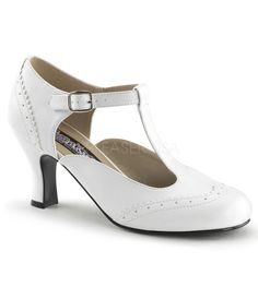 You're sweet as pie, darling, and there's no better way to show off your feminine side than with a pair of white kitten heels from Unique Vintage. These T-strap kitten heels feature subtle perforations along the seams of their man-made white uppers, just like the Mary Janes that you know and love from years gone by. Their 3-inch kitten heels add a bit of sultry appeal that's much more grown up than the usual saddle shoes, while their adjustable straps create a custom fit for any stylish…
