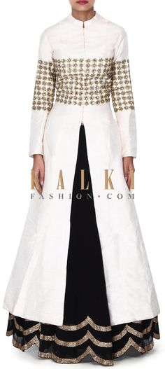 Buy this Black lehenga with off white long jacket blouse only on Kalki