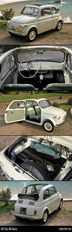 This 1958 Fiat 500 Nuova, especially the way the convertible slides back, must have been the inspiration for the 2012 fiat 500 model. #fiat #fiat500