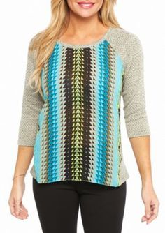 Ruby Rd  Petite Well Traveled Zigzag Hachi Knit Top
