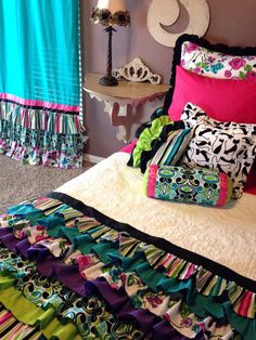 Retro Ruffled Girl's Bedding Set by LikeMyMotherDoes on Etsy, $200.00