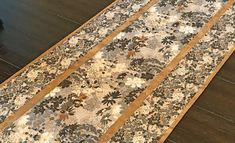 "Gray Floral Table Runner, Gray and Tan Shabby Chic Table Runner, Neutral Gray and Tan Table Decor , 15.5"" x 48"""