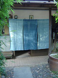 Textiles by Kyoto-based master dyer, Sachio Yoshioka, Japan Cortinas Noren, Outdoor Rooms, Outdoor Living, Noren Curtains, Japanese Textiles, Curtain Designs, Japanese House, Japanese Design, Home Living