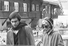 Audrey Hepburn et Sean Ferrer à Gstaad le 25 janvier 1977.