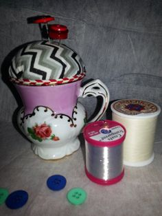 Pincushion in a vintage china cup https://www.etsy.com/listing/167920982/pincushion-in-a-sweet-china-cup-with