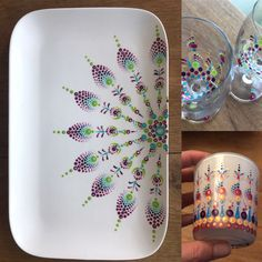 Pottery Painting Ideas Easy, Pottery Painting Designs, Paint Designs, Mandala Dots, Mandala Pattern, Mandala Design, Dot Art Painting, Ceramic Painting, Painting For Kids