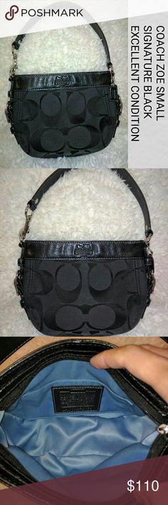 Authentic COACH Zoe signature black hobo bag DESCRIPTION:  -Signature black jacquard fabric & black leather trim with COACH horse & carriage logo embossed on top  -Large side accent buckles on both sides -Black wide leather strap with dog leash clasp on one end  -Silver-tone hardware  -Full zip top closure hidden under flap with long black leather zip pull  -COACH black leather hang tag  -Interior lined in light blue sateen fabric lining  -1 open slip pocket with COACH leather creed patch…