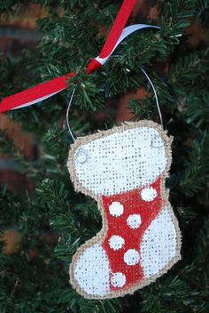 Santa burlap hand painted christmas ornament by annieslittlehouse items similar to polka dot stocking burlap hand painted christmas ornament on etsy solutioingenieria Gallery
