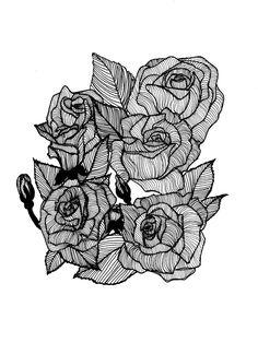 Bold Botanical Rose Illustration Print // by StaggIllustration