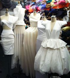 Parade of white dresses. Pinned and draped by JC. #moodfabrics