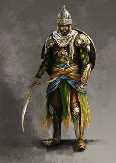 Saracen warrior concept by KardisArt on DeviantArt Persian Warrior, Greek Warrior, Fantasy Armor, Medieval Fantasy, Arabian Knights, Knight Art, Game Character, Character Design, Fantasy Characters