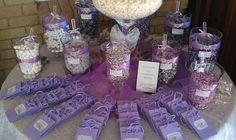Pop Up Candy Bar - Lavender Candy Buffet Purple Candy Buffet, Candy Buffet Tables, Dessert Table, Dessert Bars, Purple Party, Purple Wedding, Our Wedding, Wedding Ideas, Peacock Wedding