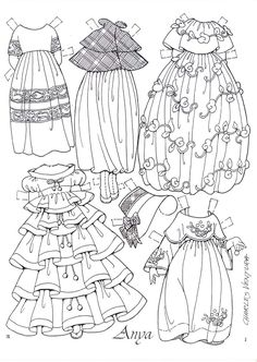 Paper doll~ Anya Imagines by Charles Ventura clothes page 2 Paper Toys, Paper Crafts, Dibujos Cute, Vintage Paper Dolls, Coloring Book Pages, Colored Paper, Digi Stamps, Cut And Color, Doll Clothes
