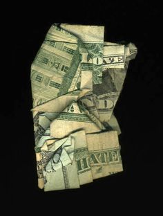 A series of folded money prints by New Orleans artist Dan Tague