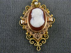 Superb Victorian Hardstone Cameo Pendant   14k and 10k