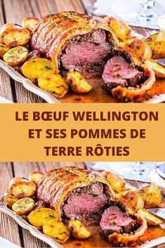 Pour le réveillon, découvrez le bœuf Wellington et ses pommes de terre rôties! Comment ne pas succomber au Bœuf Wellington ? Sa viande fondante relevée aux épices, ses champignons poêlés, le tout recouvert d'un feuilletage croustillant. Que dire de plus si ce n'est qu'il faut le découvrir sans plus tarder! Le bœuf Wellington est le plat phare des repas de noël. Même si son origine reste floue, la légende propose qu'il doit son nom au premier duc de Wellington féru de bœuf en croûte… No Salt Recipes, Pork, Beef, Netflix, Table, Apples, Truffles, Trier, Thermomix