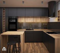 Compact Krakow Apartment by Hi-Light Architects Simple Kitchen Design, Kitchen Room Design, Best Kitchen Designs, Kitchen Cabinet Design, Kitchen Layout, Home Decor Kitchen, Interior Design Kitchen, Home Kitchens, Modern Kitchen Cabinets