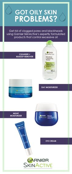 Do you have oily skin problems? Get rid of clogged pores and blackheads using Garnier SkinActive expertly formulated products that control excess oil