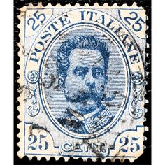 Italy, King Umberto I, 25 Cents, Blue, 1891 used fine