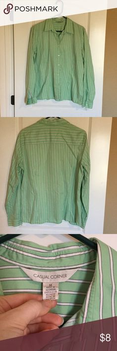Casual corner long sleeve dress blouse Green white black stripe button down from casual corner casual corner Tops Button Down Shirts