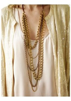 beautiful vintage chains necklace