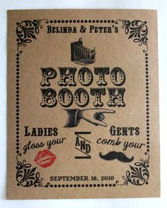PERSONALIZED 8 x 10 Vintage Look Photo Booth Prop Sign- Single Sheet Photo Booth Sign With Your NAMES and DATE- Brown Kraft or White. $9.00, via Etsy.