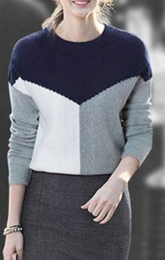 30 Knitted Women Sweaters To Rock This Season - Fashion Trends - Knitwear Fashion, Womens Knitwear, Casual Outfits, Fashion Outfits, Elegant Outfit, Color Block Sweater, Pulls, Street Style Women, Latest Fashion Trends