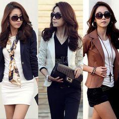 Spring Women's Slim Short Blazer Suit Jacket Coat Outwear