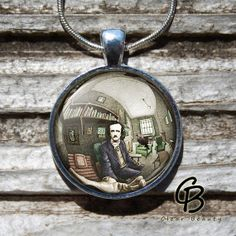 Edgar Allan Poe  Glass Dome Print Pendant Jewelry by ClearBeauty, £7.99