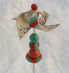 Windspiel Windrad aus Keramik mit Kugellager von Scherbenwerker
