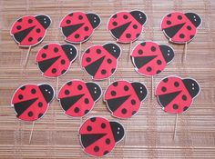 Lady Bug birthday Party Cupcake toppersRed by ZoeysRusticPlace, $7.00
