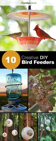 10 Creative DIY Bird Feeders A great round-up on DIY Bird Feeder projects from around the web with lots of Tutorials! 10 Creative DIY Bird Feeders A great round-up on DIY Bird Feeder projects from around the web with lots of Tutorials! Garden Crafts, Garden Projects, Craft Projects, Diy Crafts, Garden Ideas, Upcycling Projects, Backyard Ideas, Homemade Bird Feeders, Diy Bird Feeder