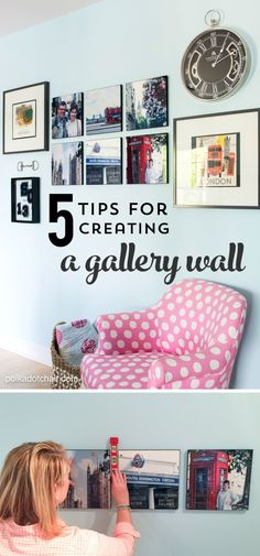 From layout ideas to hanging tips, 5 Tips for Creating and designing a Gallery Wall in a bedroom or other space in your home.