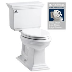 KOHLER Memoirs White 1.28-GPF (4.85-LPF) 12-in Rough-In WaterSense Elongated 2-Piece Chair Height Toilet