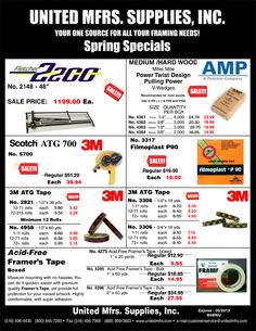 """Great prices and quality go together at United. Find sales and discounts on """"All Your Framing Needs"""". When you're looking for quality items for sale think United Mfrs. Check Out Our Spring Specials!! Use Promo Code """"M4BWU"""" Spring Specials will be available to view on our Website Soon or Check your email if your a subscriber!! Deals expire on May 30,2013."""